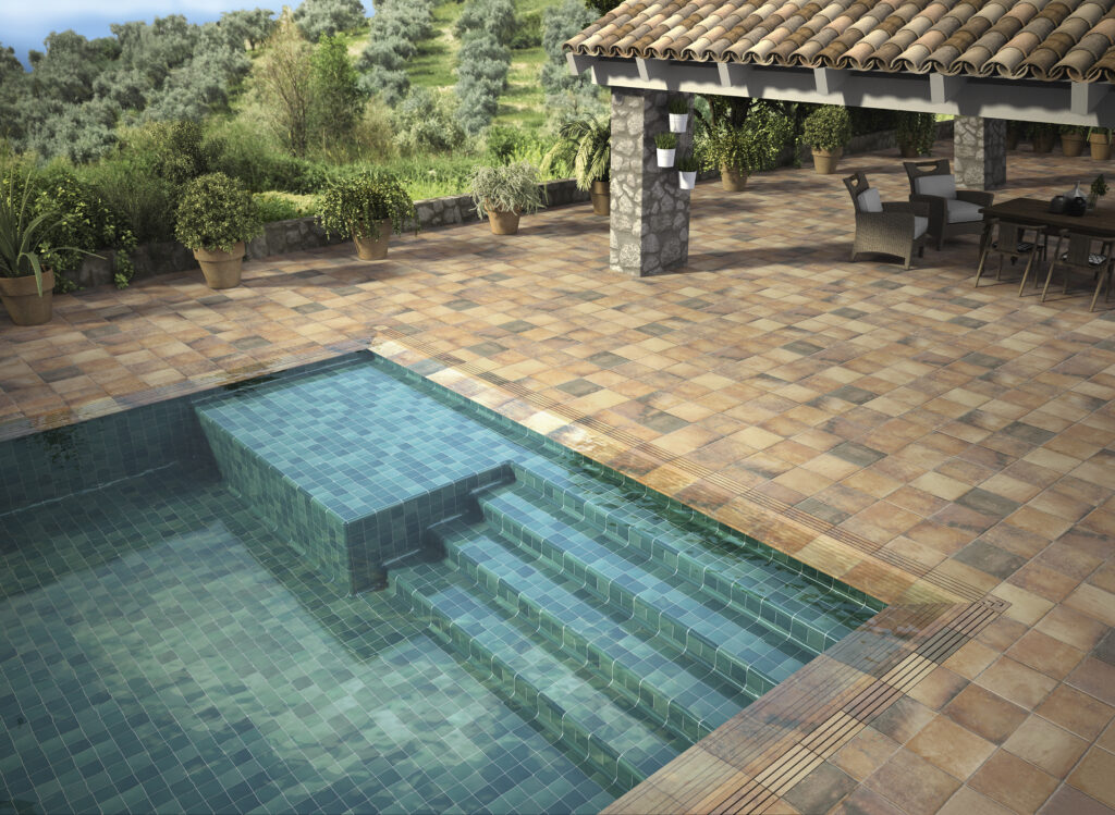 Tech-Land Fire & 10x10 cm destonificated Emerald for the inside of the pool