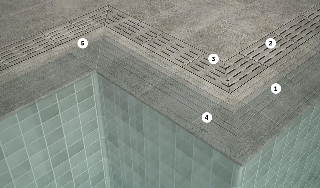Detalle piezas especiales sistema desbordante con gratting